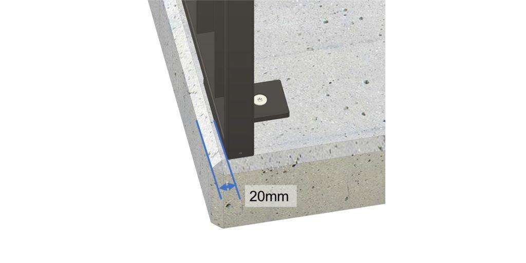 Abstand des Geländers zur Betonkante