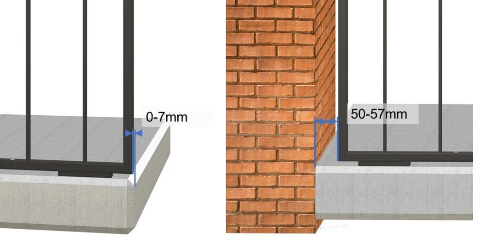 Abstand vom Staketengeländer zur Wand oder Betonende