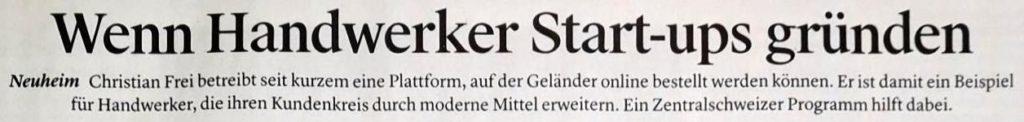 Zeitungsausschnitt über geländerXpress.ch, wo Geländer online bestellt werden können