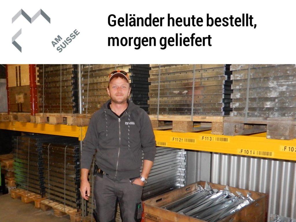 Bericht des Branchenverbandes über geländerXpress.ch. Geländer online bestellen findet auch die AM-Suisse toll.