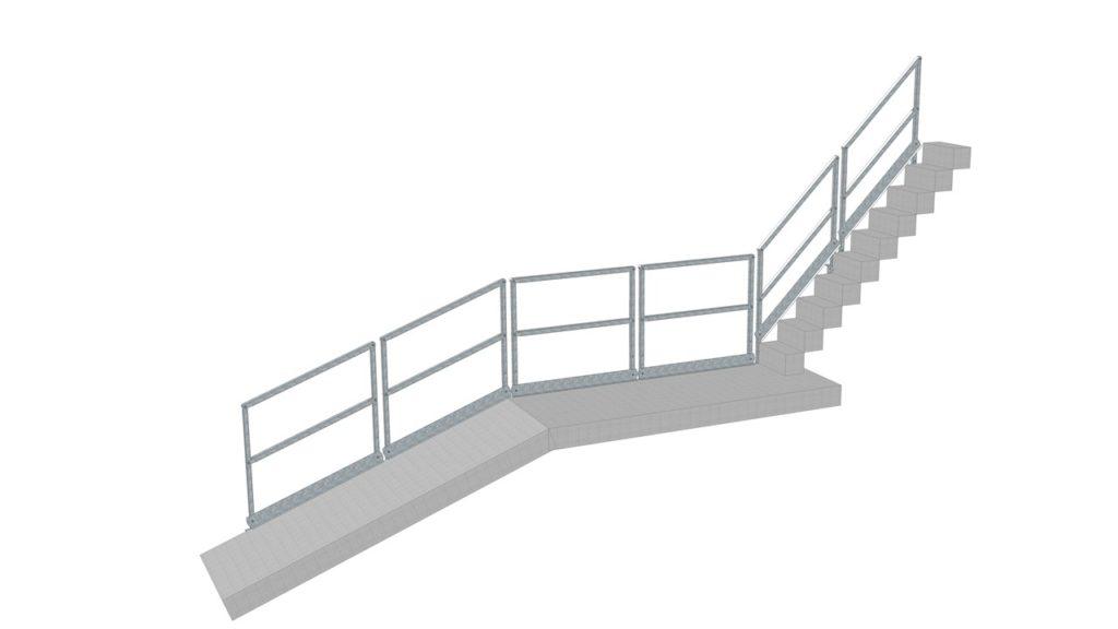 Verschiedene Steigungen des Industriegeländers für Montage an Rampe, Podest oder Treppe