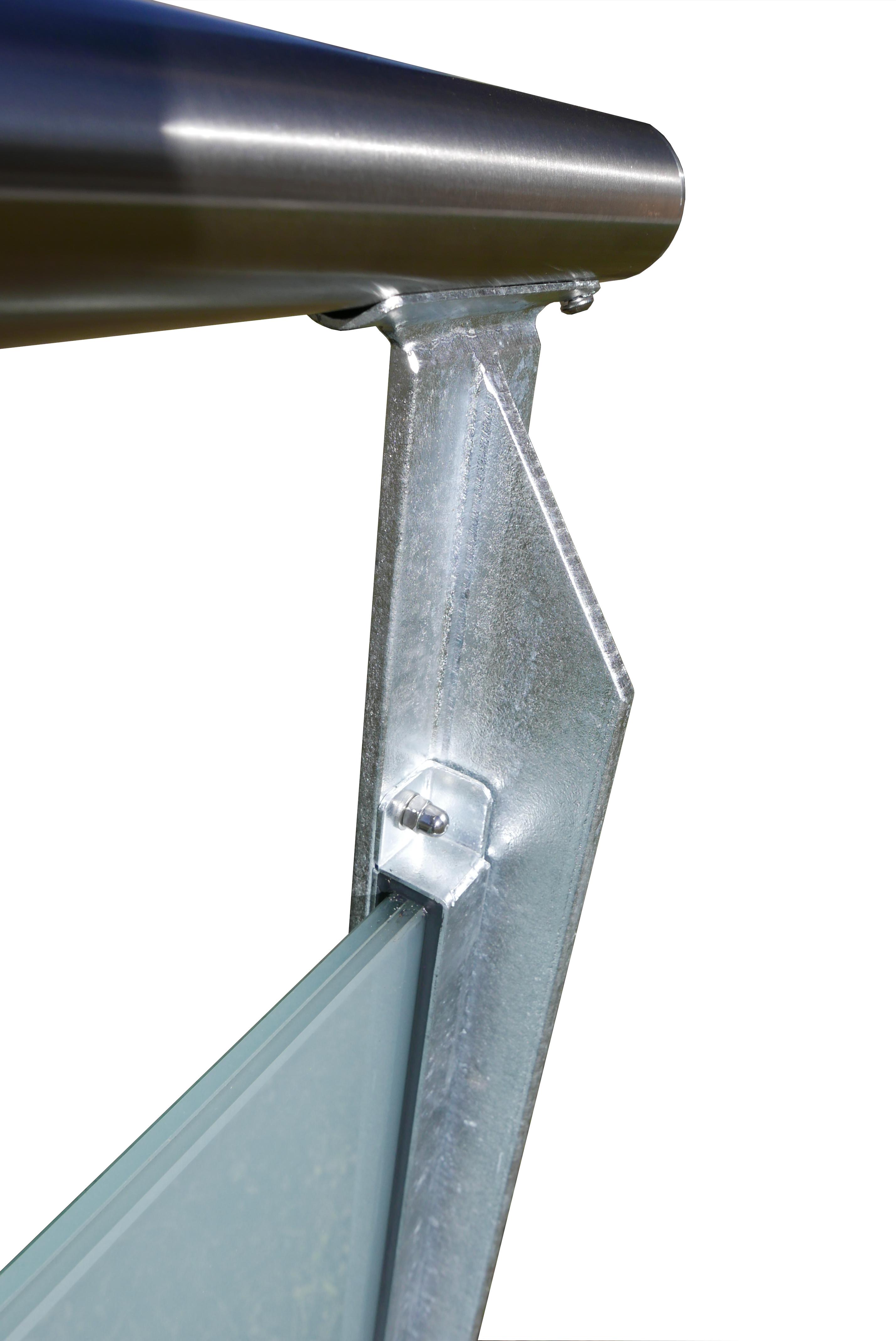 Geländer Glasfüllung in Profile eingeklebt Edelstahlhandlauf
