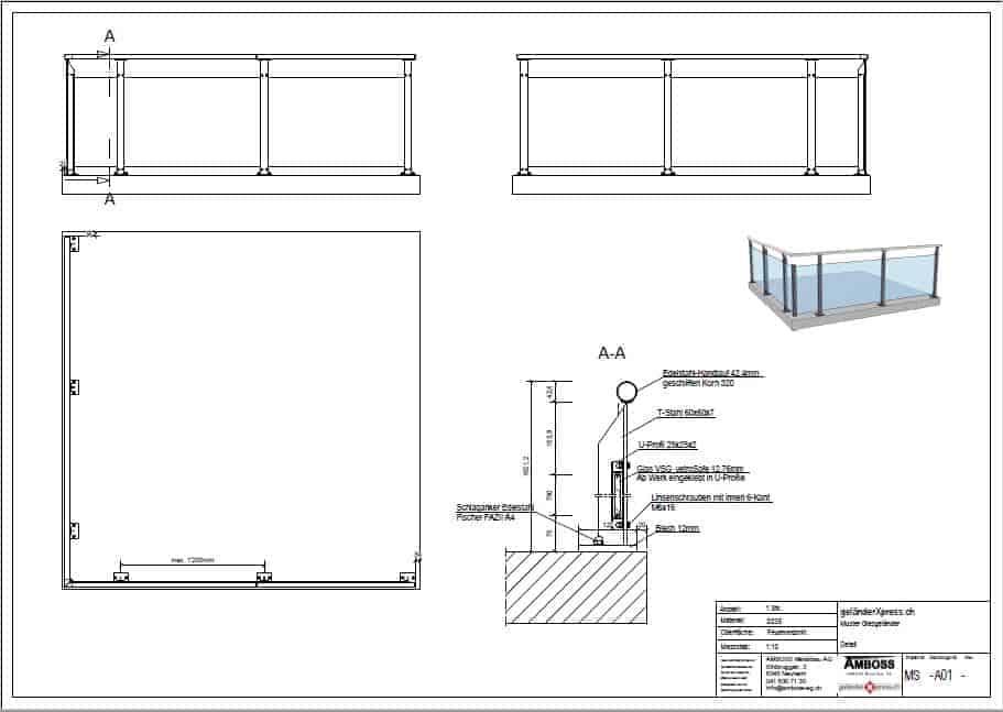 Systemskizze zum Xpress-Glasgeländer